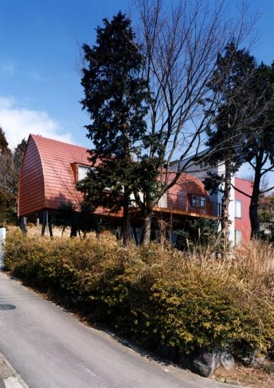 南側からの外観 (西熱海の陶芸工房のある家)
