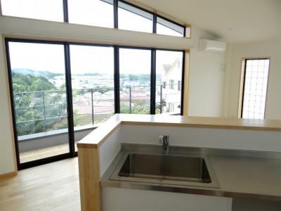 コアジロハウス 住戸A―眺望を最大限に生かした共同住宅ー (リビングダイニング)