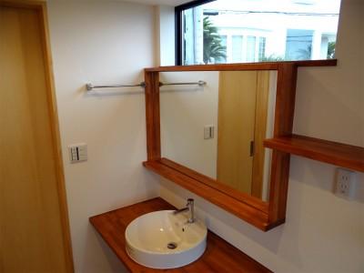 洗面・脱衣室 (コアジロハウス 住戸B ―眺望を最大限に生かした共同住宅ー)