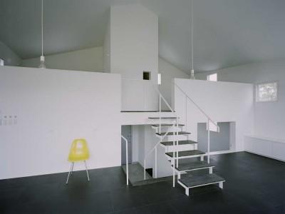 ワンルームの家 (リビング階段)