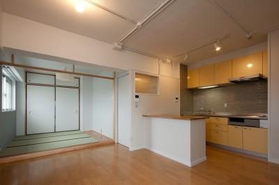 ダイニングキッチンと和室 (伊丹の長く明るいLDK|伊丹市の1976年築のマンションリノベーション。窓に面する4室の壁を撤去し長さ12mの明るいLDKを実現。)