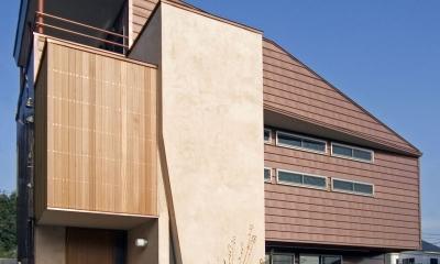 埼玉県和光市の区画整理地の家 (3つの茶系テクスチャーで構成された外観)