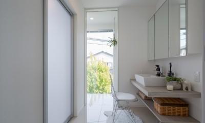 洗面脱衣室・サンルーム|眺望を楽しみ穏やかに暮らす家