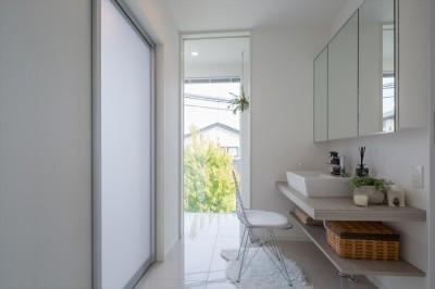 洗面脱衣室・サンルーム (眺望を楽しみ穏やかに暮らす家)