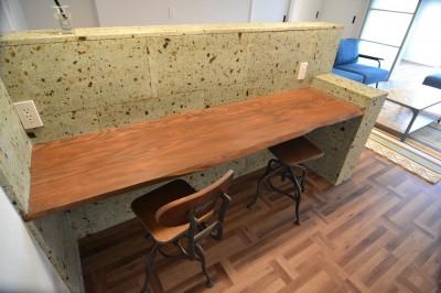 大谷石自然木材テーブル (和製ブルックリンスタイル & インダストリアル)
