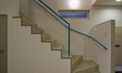 新宿区百人町の家(敷地12坪の家) (部屋の狭さを消す事を意図した階段)