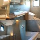 ルーフバルコニーにリビングを移動させた目黒の家の写真 コンクリートのバス・トイレ