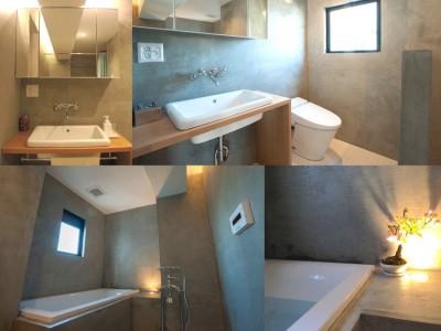 コンクリートのバス・トイレ (ルーフバルコニーにリビングを移動させた目黒の家)