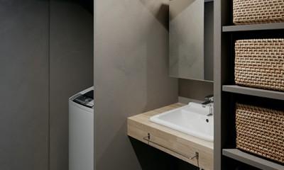 専用庭のある約100平米の団地リノベーション (シンプルでコンパクトな洗面空間)