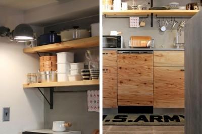 キッチン (壁をつくらない 空間の仕切り方(鶴見区 I邸マンションリノベーション))