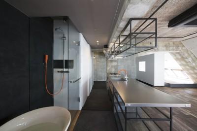 バスルームよりキッチン・玄関を見る (tokyo LOFT)