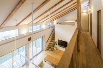 家族を結びつける大屋根の家 (二階から)