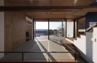 テラスに開いたお座敷 (東京の崖地に浮かぶ絶景の住処)