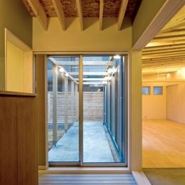 住宅地に建つコートハウス(通り抜け土間のある家) (玄関からコート(庭)に通り抜けられる土間)