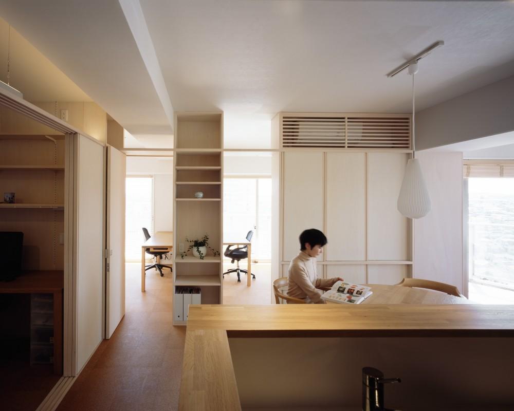 H邸リノベーション ー子供部屋と書斎をつくる (キッチンからの眺め)