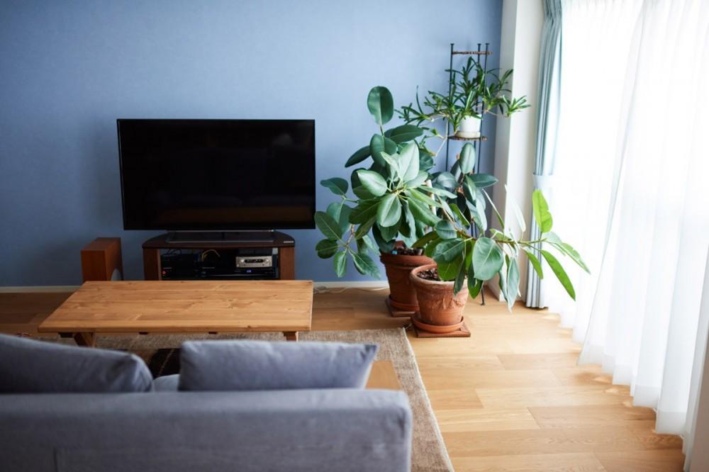 直感と趣味を大切にした家作りは、一人暮らしならではの醍醐味。 (リビングのアクセントカラー)