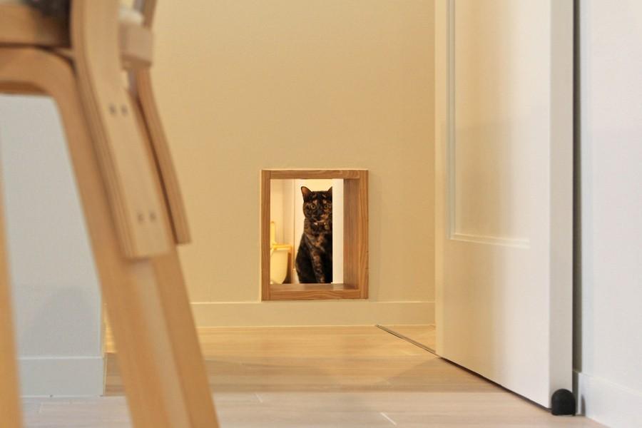 リビングダイニング事例:ペット用通路(1階)(猫と暮らす、二世帯住宅(成城学園前 戸建てリノベーション))