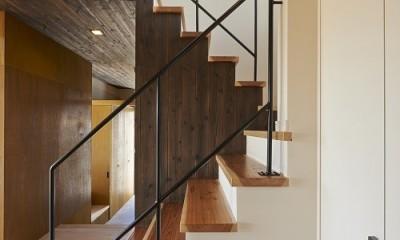 斜の屋根の家 (階段)