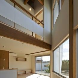 斜の屋根の家