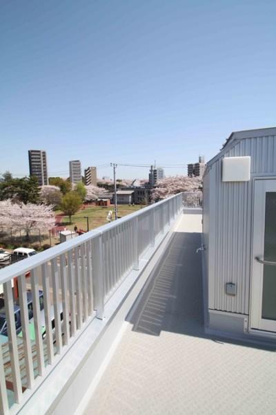 眺めの良い、屋上 (屋上は天空の中庭のある家―桜を眺め・子供のプール・洗濯干し・空を我が家の庭に)