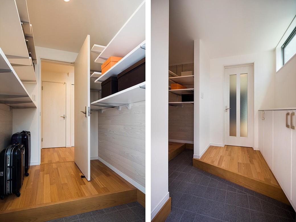 快適な玄関収納とは?仕舞うだけではない、コート掛けなど色々な工夫で機能が加わる家 (ウォークスルー・シューズインクローゼット)