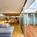 haus-flow/地域のオアシスとしての平屋中庭付き住宅の写真 haus-flow リビング&中庭