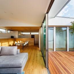 haus-flow/地域のオアシスとしての平屋中庭付き住宅 (haus-flow リビング&中庭)