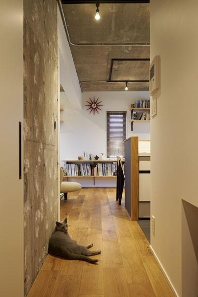 廊下 (躯体を活かしたソリッドな空間。建築家夫妻が描く理想の住まい。)