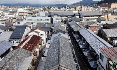 五条通り側からの見下ろし|昭和小路の長屋|賃貸向け京町家のシンプルリノベーション【京都市】