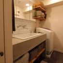 スモーキーな色使い(上井草マンションリノベーション)の写真 洗面室