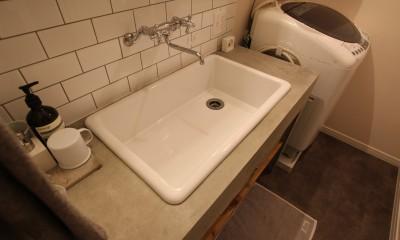 洗面室|スモーキーな色使い(上井草マンションリノベーション)
