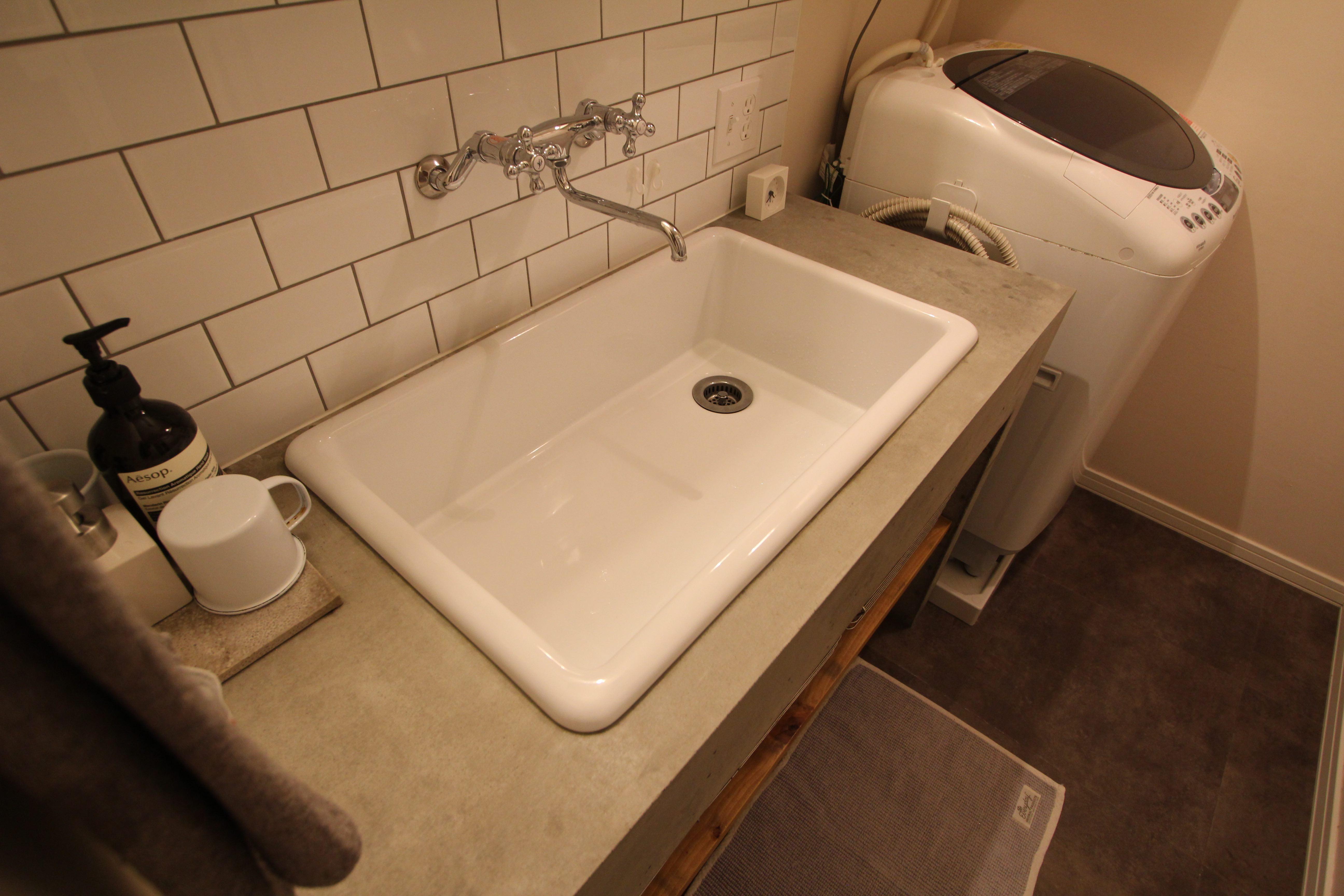 バス/トイレ事例:洗面室(スモーキーな色使い(上井草マンションリノベーション))