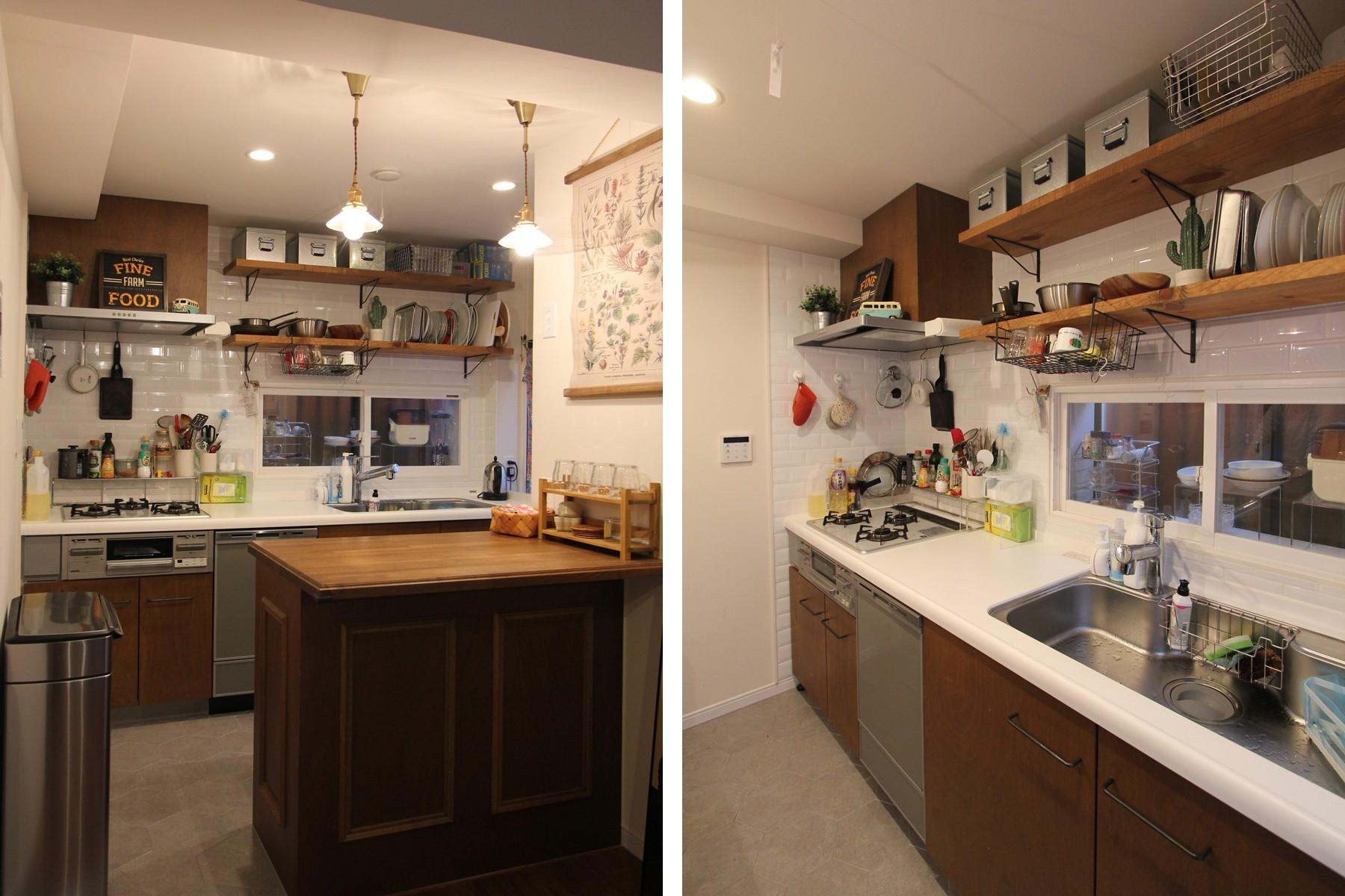 キッチン事例:キッチン(木と黒ないえ)