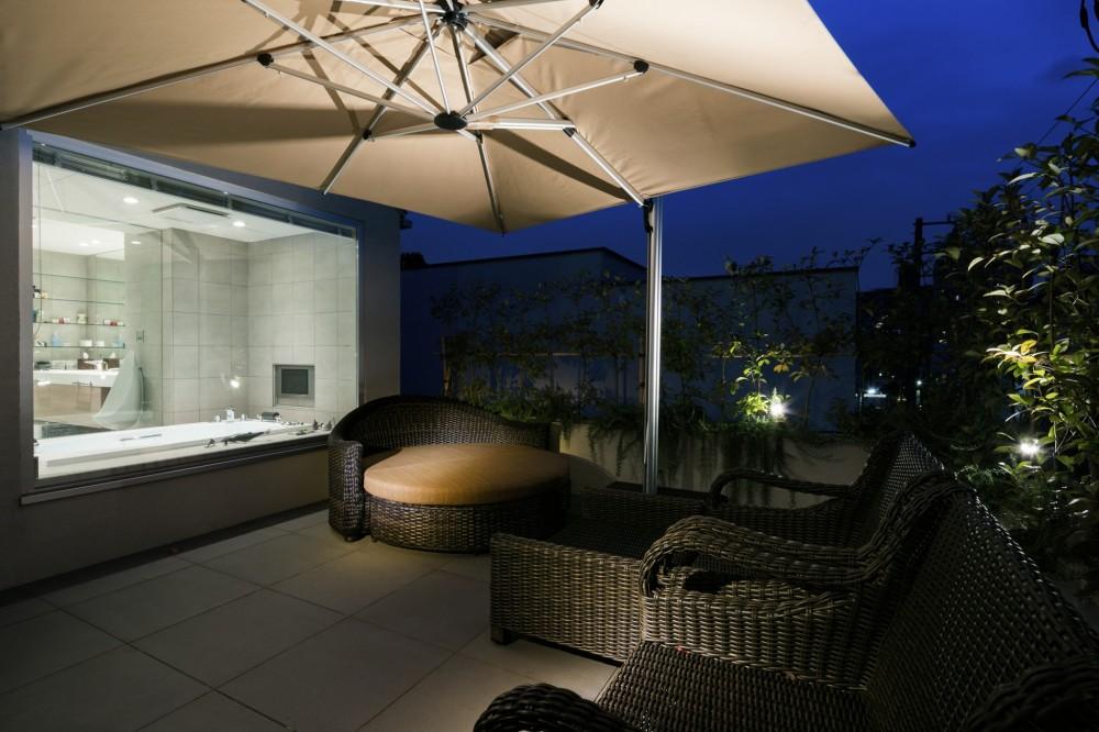 高輪台の家 (ルーフバルコニー夜景)