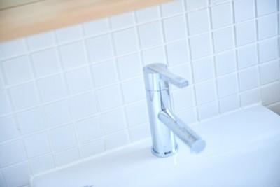 洗面室 (木の風合いにブルーを添えて)