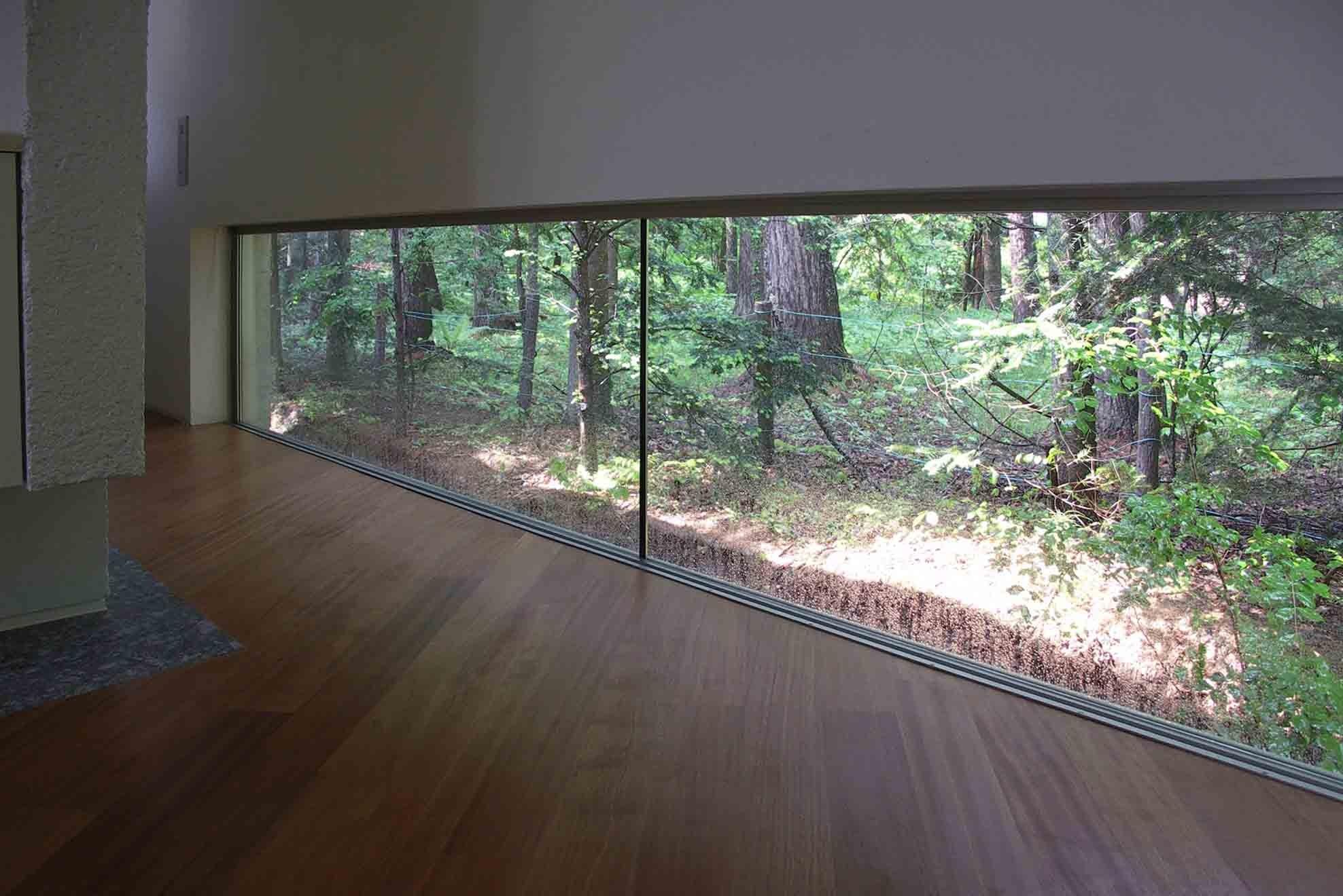 リビングダイニング事例:エントランスホール突き当りの地窓からは隣地の広大な原生林が借景として見えるようになっている(中軽井沢、地窓から裏手の広大な森が目に入る緑に囲まれた住まい)