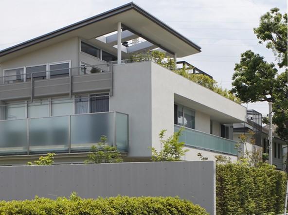 ミッドセンチュリーテイスト 成城にてゆったりと住まう (外観を斜め方向から見る。右奥は世田谷区保存樹木であるクスノキ)
