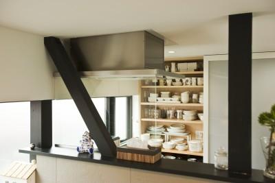 キッチン背面収納 (大収納狭小住宅 ハコノオウチ07)