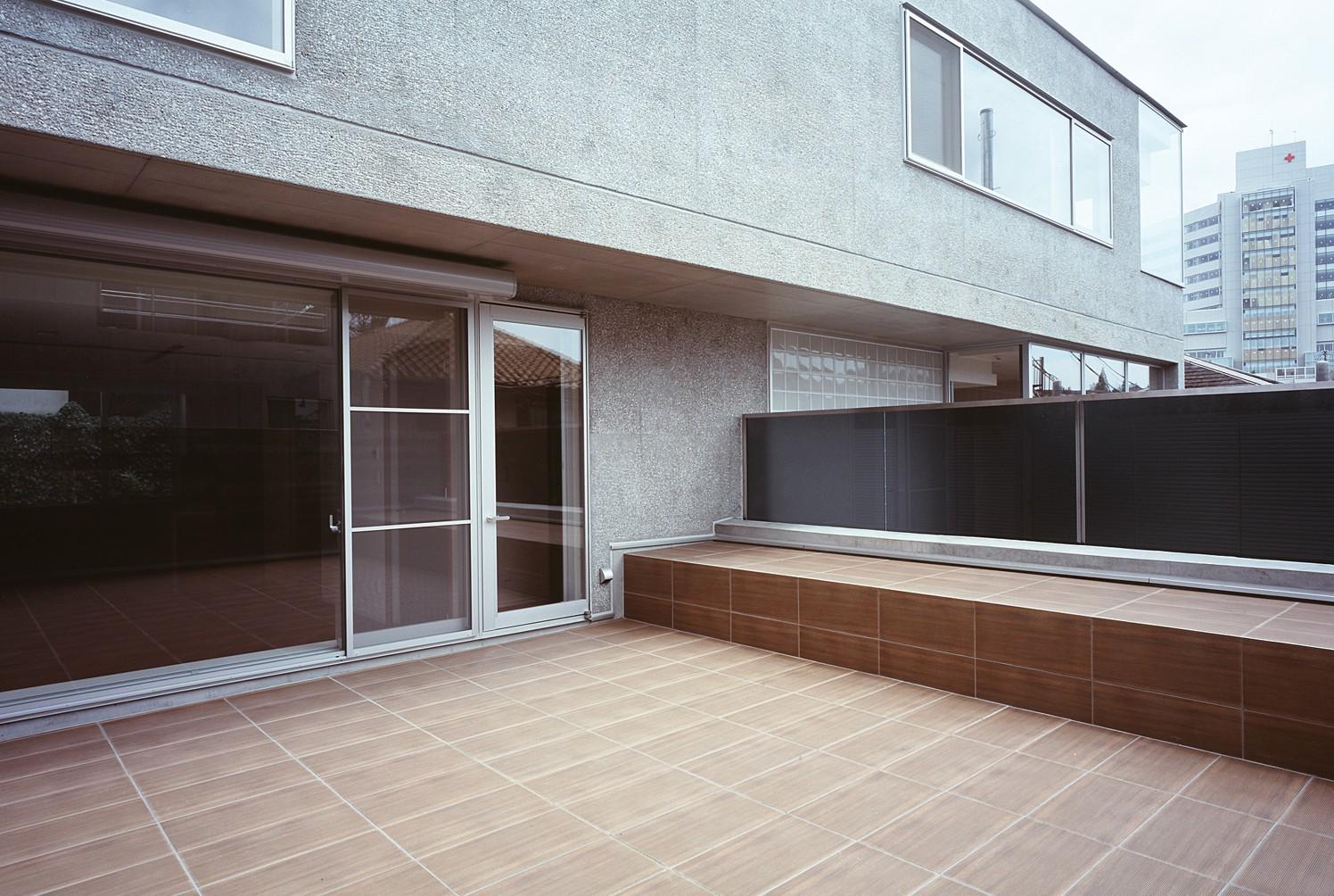 アウトドア事例:屋上バルコニー周りの様子(典雅さを目指した広尾の住まい RCビシャン仕上げの外観 シノワズリのインテリア空間)
