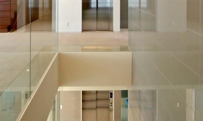 高輪台の家、こだわりの施主と作り上げたバーカウンターのある大型住まい (階段まわり)