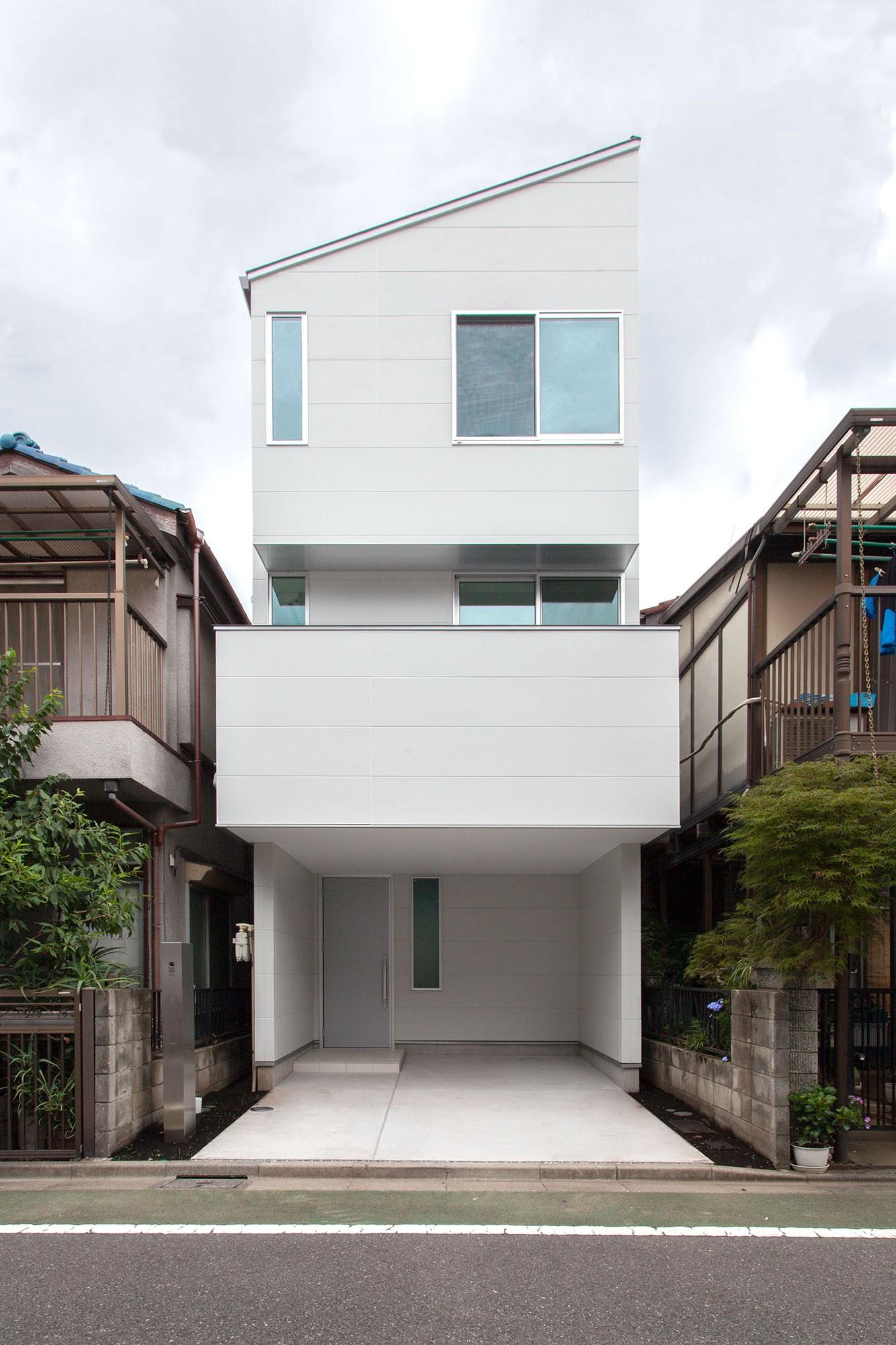 外観事例:外観(高島平の家-敷地形状を活かした伸びやかな住空間)