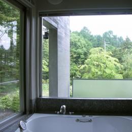中軽井沢、地窓から裏手の広大な森が目に入る緑に囲まれた住まい (浴室から外を見た様子)