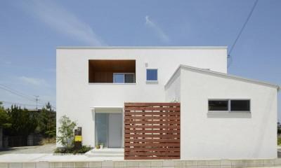 崖地に建つシンプルな家