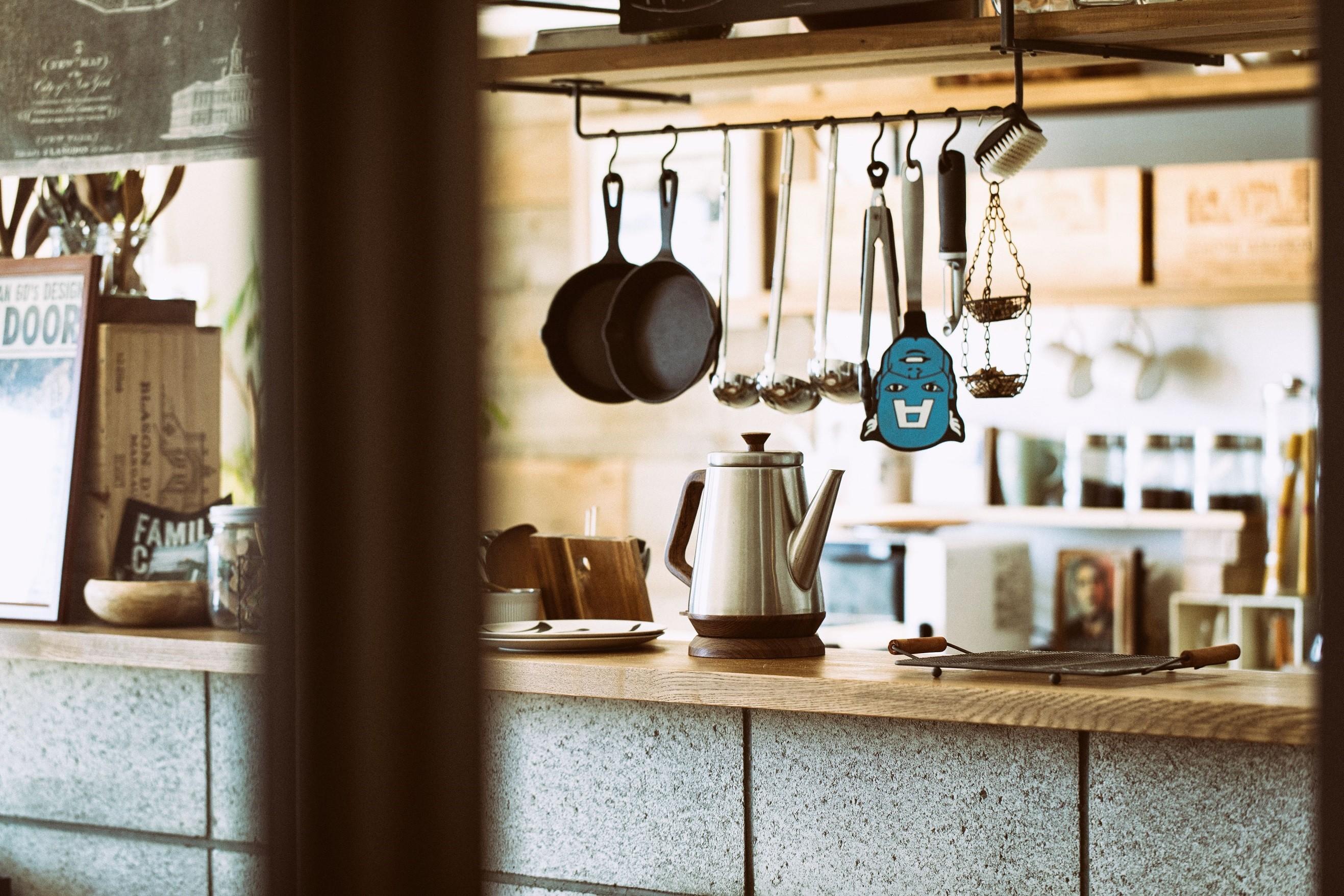 キッチン事例:キッチンカウンター(音楽と料理が楽しめる家)