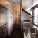 竹の台団地の白い家|京都府長岡京市の団地リノベーション。カリスマ主婦石黒智子さんご自宅の厨房を模したキッチンを中心にシンプルで自由な暮らしを実現。の写真 キッチン