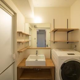 シンプルな構成の洗面台周り