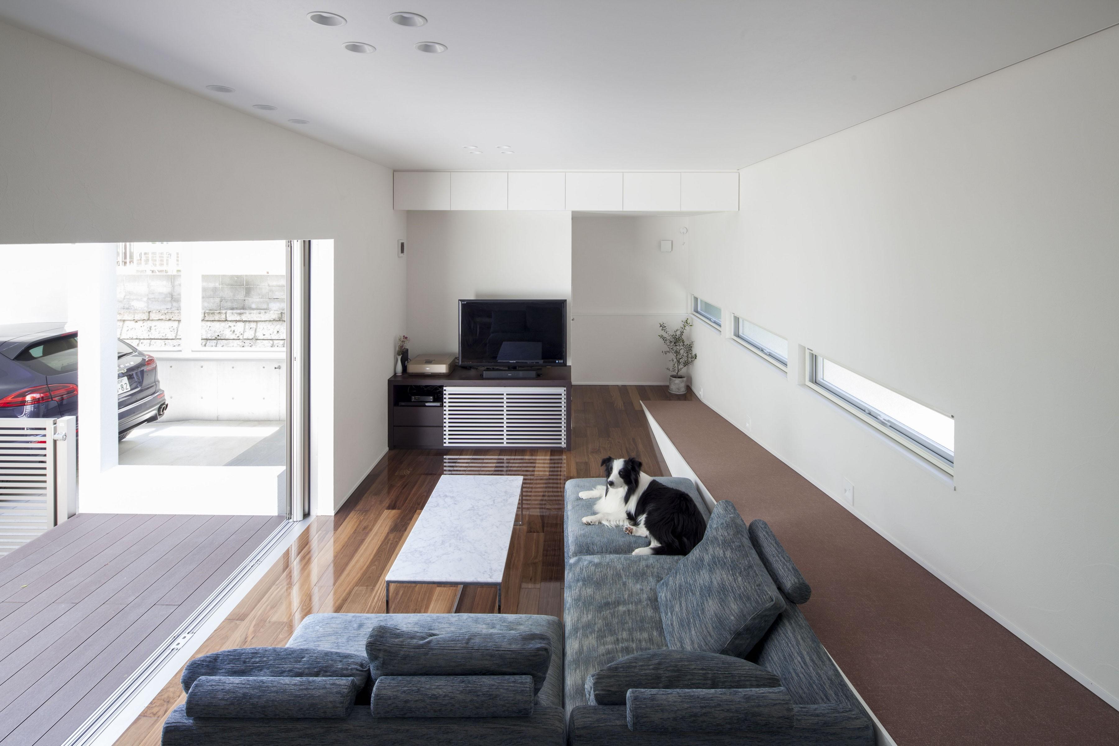 リビングダイニング事例:中庭と連続したリビングの大開口(スロープの家・卍(愛犬家住宅・愛猫家住宅))