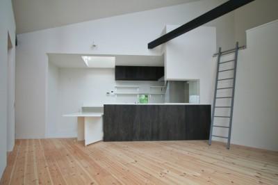 ペニンシュラ型の対面キッチン (山梨の平屋の家)
