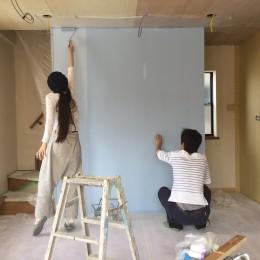 無垢材と色にこだわった家 (DIY)