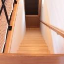 和の素材感をモダンにアレンジした新築住宅の写真 階段